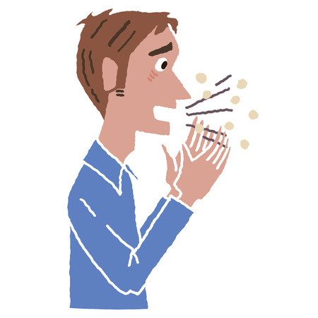 flu prevention: Male coughs