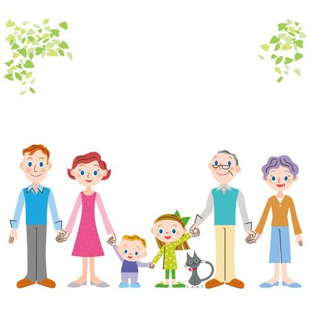 手を繋いでいる第三世代の外国人の家族