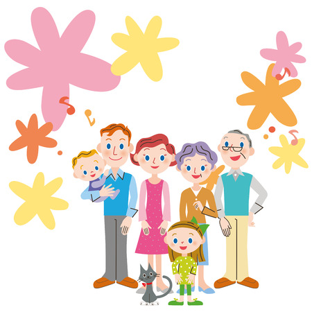 Big family with floral background