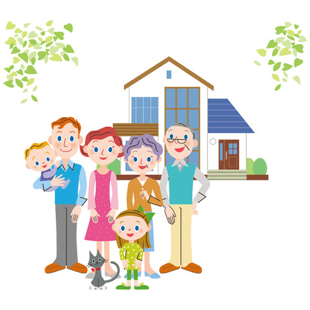family in front of house: Happy family who stands in front of a house Illustration