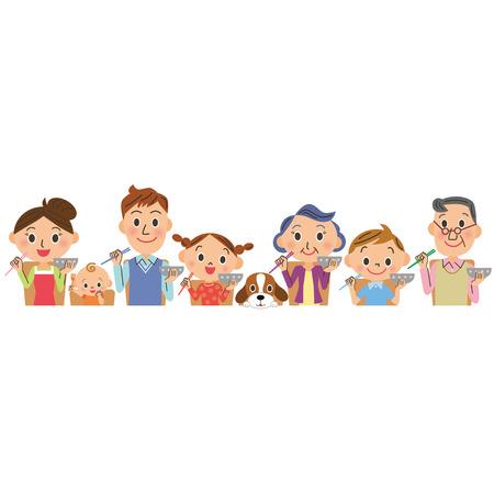 Die Szene, in der eine Familie isst Standard-Bild - 33658448