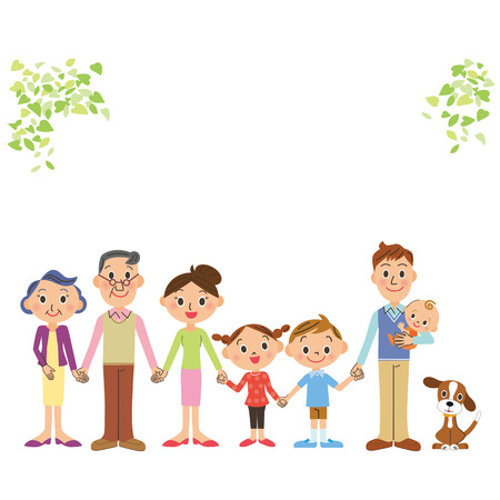 The good friend three-generation family who ties a hand Illustration