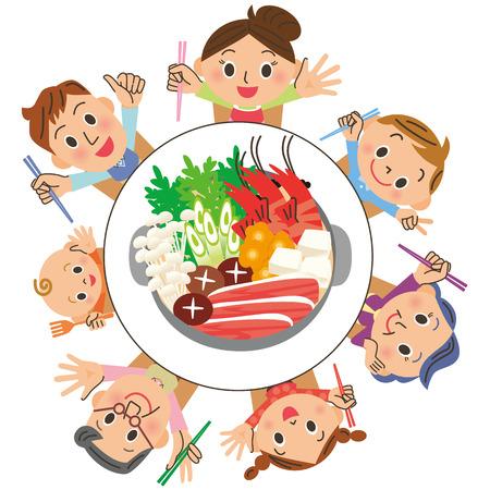 Ik eet een pan in gezinnen Stock Illustratie