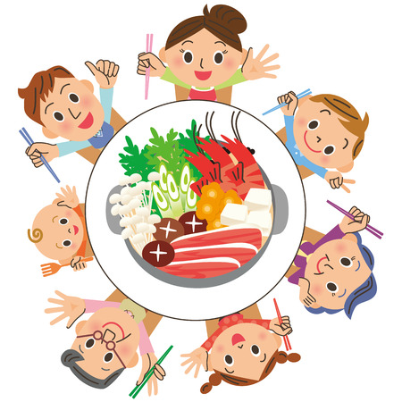 I eat a pan in families Illustration