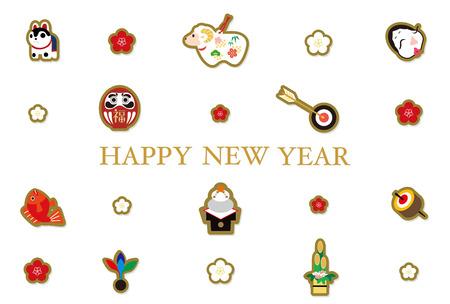 rice cake: New Year  's card, mascot
