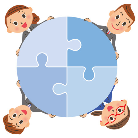 participation: The office worker who is connected with a puzzle Illustration