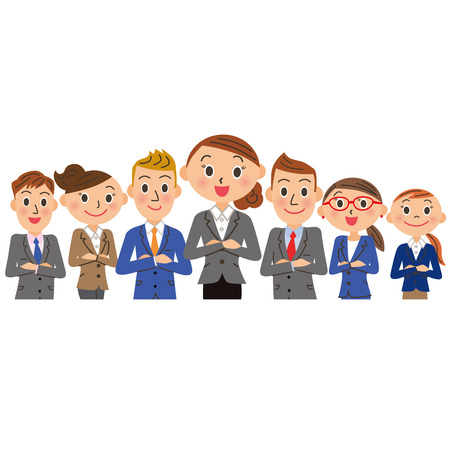 oriented: Female oriented businessman group Illustration
