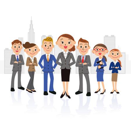 Female oriented businessman group and building Ilustração