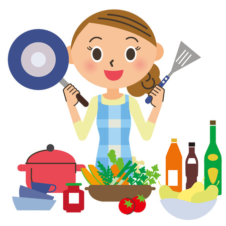 housewife who cooks Stock Illustratie