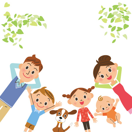 family with dog: family who lies Illustration