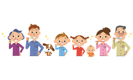 brush my teeth in families Illustration