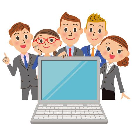 会社員で PC を見る