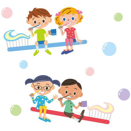 toothbrushing: Children who got on the toothbrush Illustration