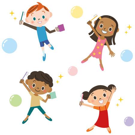 toothbrushing: Children enjoying toothbrushing