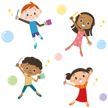 Kinderen genieten van tandenpoetsen Stock Illustratie
