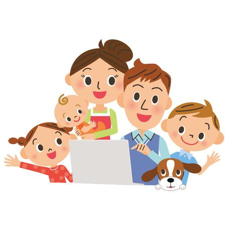 Ich beobachte einen PC in, Familien Standard-Bild - 37375780