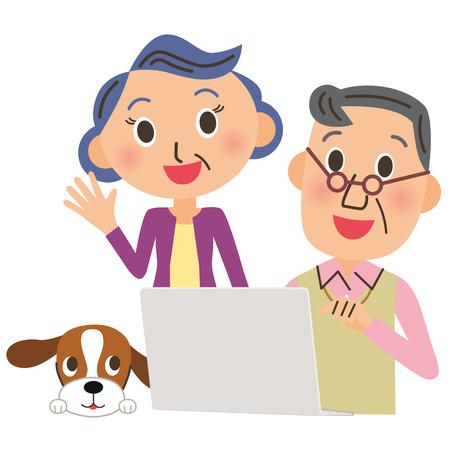 Ich beobachte einen PC in, Alter Mann Mädchen Standard-Bild - 37376103