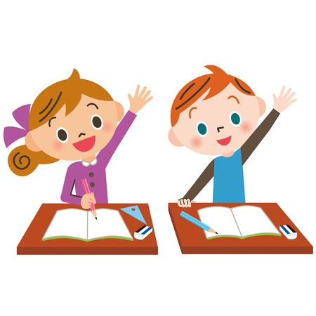 child who raises hand well Stock Illustratie