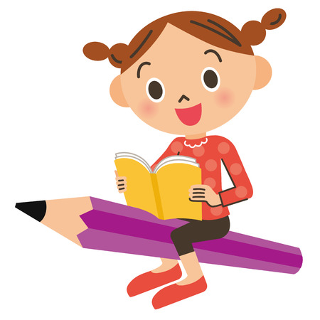 gets: child who gets on the pencil Illustration