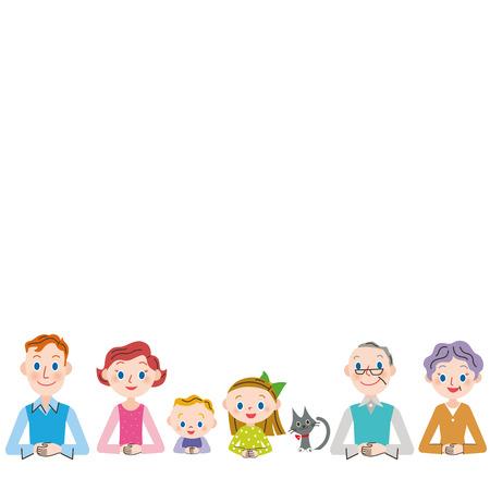 第 3 世代家族コピー スペース  イラスト・ベクター素材