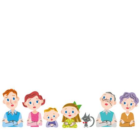 Die Frage, drei Generationen der Familie Oberkörper Standard-Bild - 38371973