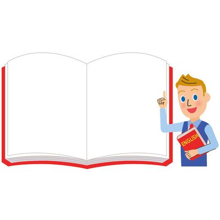 英語の先生と男性のための白いノート