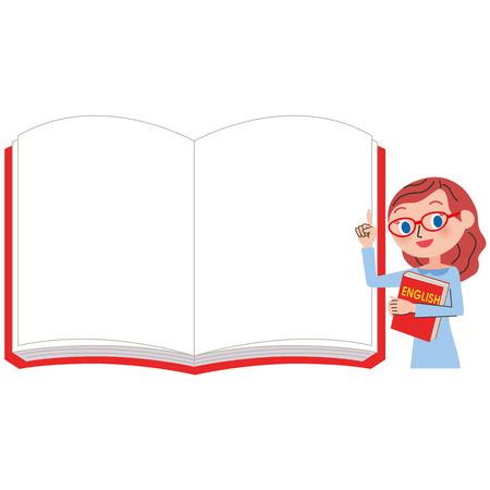 英語の先生と女性の白いノート