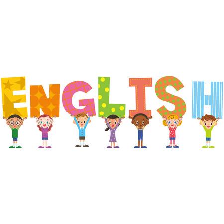 English title and children  イラスト・ベクター素材