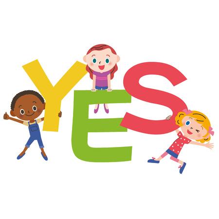 internationally: YES letter and children Illustration