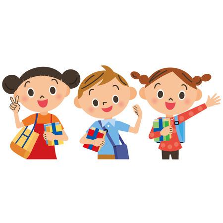 Kinderen gaan naar de private aanvullende scholen Stock Illustratie