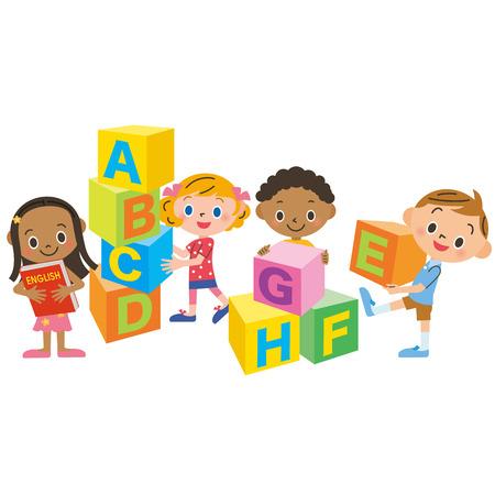 niños estudiando: bloque y los niños del alfabeto Vectores