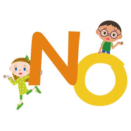 foreigner: NO letter and children Illustration