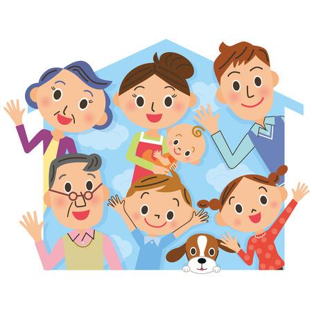 Close drie-generatie familie en huis