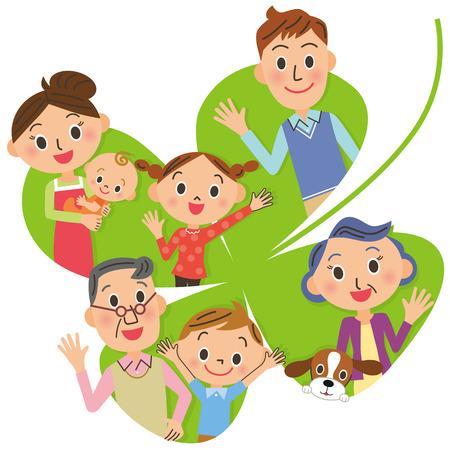 Fourleaf klaver en dicht Sansei familie Stock Illustratie