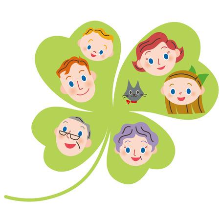 fourleaf: Fourleaf clover and the close threegeneration family Illustration