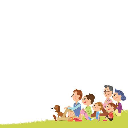 De nauwe threegeneration familie die zit omlaag naar een grasveld