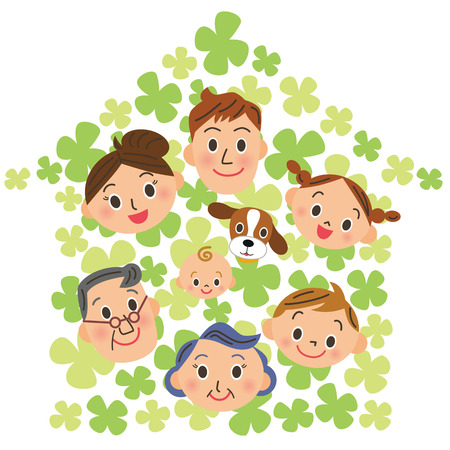 clover face: House and threegeneration family of the clover