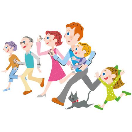 threegeneration familie die lijnen opzij en loopt