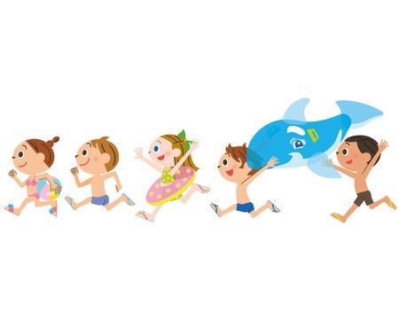 子供は海でプールを実行します。