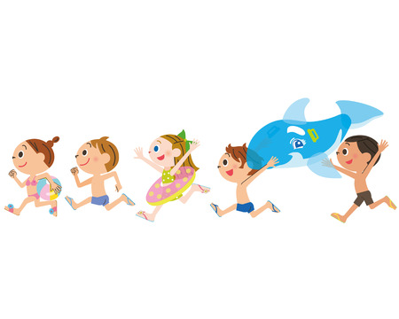 Children run in the sea a pool Illustration