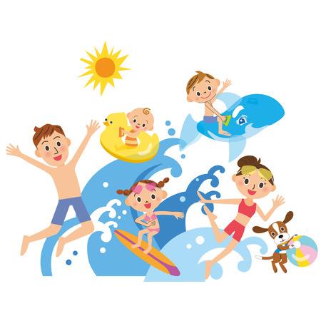 수영장 가족이 바다를 연다. 일러스트
