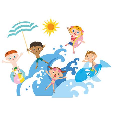 Children play a wave