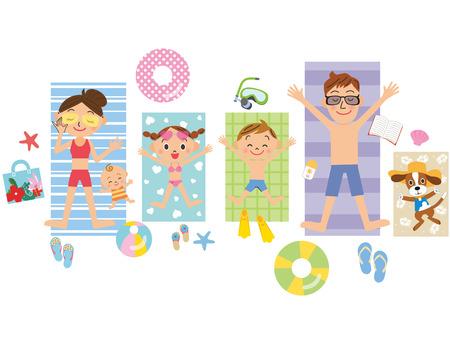 家族日焼け海プール  イラスト・ベクター素材