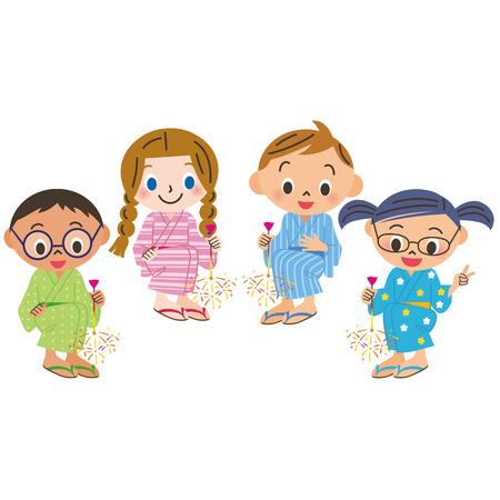yukata: Toy fireworks, meeting the child Illustration