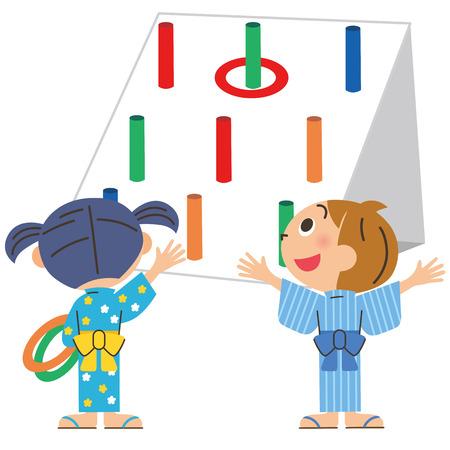 yukata: child who plays a quoits Illustration