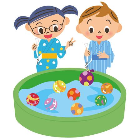 yukata: child who does yoyo fishing