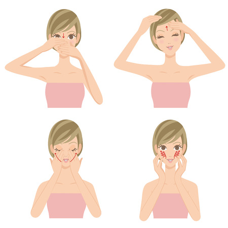 facial massage: woman whom I massage Illustration