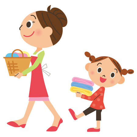child smiling: Parent and child who carry laundry Illustration