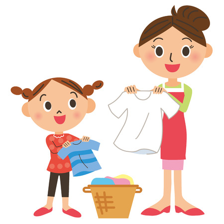 limpieza: Lavandería y padres e hijos Vectores