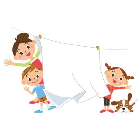 Wäscherei und Familie Standard-Bild - 43150485